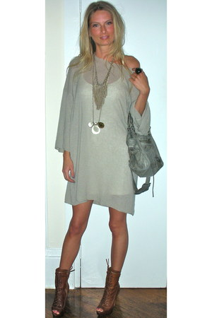 neutral vintage dress - Miu Miu boots - heather gray balenciaga bag - Tre neckla
