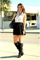 gold gold spiked Vidakush bracelet - black knee highs Nine West boots