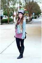 black beanie Michael Kors hat - light blue denim abercrombie and fitch jacket