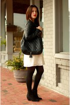 black quilted Forever 21 jacket - white lace H&M dress - black quilted Bueno bag