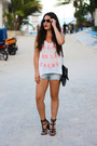 Sky-blue-victorias-secret-shorts-black-clubmaster-ray-ban-sunglasses