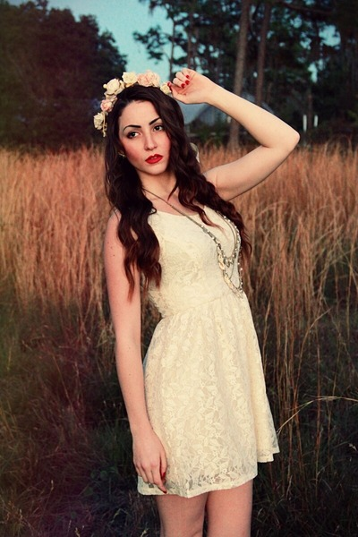 white lace vintage dress - light pink flower crown handmade hair accessory