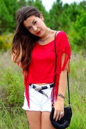 red fringe Wet Seal top - white Forever 21 shorts - black Michael Kors heels