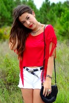 red fringe Wet Seal top - white Forever 21 shorts - black Michael Kors heels