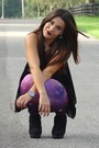 Purple-galaxy-romwe-leggings-black-forever-21-boots