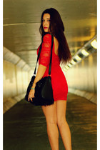 red Ustrendy dress - black spiked urban og boots - black faux fur H&M bag