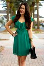 Bronze-peacock-claires-ring-black-glaze-boots-green-lulus-dress