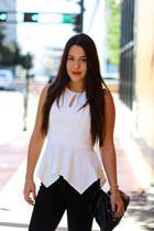 black Forever 21 boots - black Seven jeans - white peplum Montague blouse