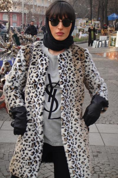 Zara coat - Prada gloves - YSL t-shirt