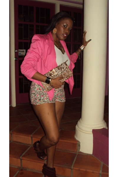 brown Promise U boots - pink Courtenay blazer - white shirt - leopard print bag