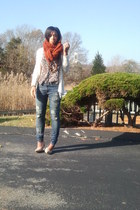 burnt orange Forever 21 scarf - blue Denim & Supply jeans