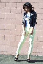 light yellow Pac Sun jeans - black Forever 21 jacket - white Aerie t-shirt