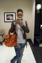 My own DIY project jeans - brown Blowfish shoes - orange Michael Kors purse - br