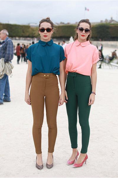 dark green high waisted American Apparel pants - peach  blouse