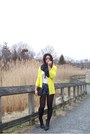 Black-h-m-boots-black-cole-haan-bag-blue-xxi-shorts-yellow-xxi-cardigan