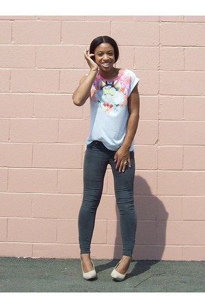 rose gold heel H&M wedges - zipper ankle H&M jeans - floral print H&M shirt