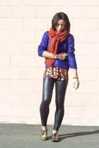 navy metallic H&M sweater - black leather Forever 21 leggings