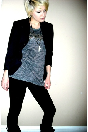 Forever21 leggings - alt apperal shirt - jacket