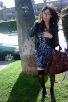 black jacket - blue vintage dress - black American Apparel stockings - purple Ki