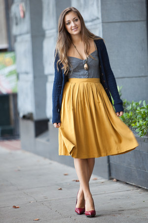 mustard Forever 21 skirt - brick red Jessica Simpson heels