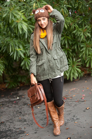 bronze Steve Madden boots - dark brown Forever 21 hat - army green H&M jacket