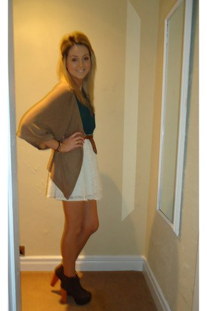 Boohoo boots - TK Maxx cardigan - vintage belt - River Island skirt