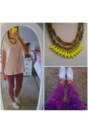 white white Primark sneakers - amethyst acid wash asos leggings