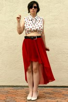ruby red romwe skirt - dark gray Old Navy sunglasses