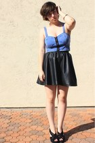 blue denim zip Topshop top - black vera wang heels - black leatherette H&M skirt