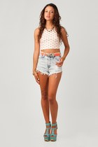 ivory nectar clothing top - heather gray nectar clothing shorts