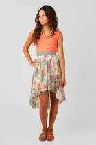 peach floral nectar clothing dress - vintage pearls nectar clothing necklace