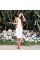 white dress nectar clothing dress - striped nectar clothing cardigan