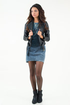 black buckle ankle Qupid boots - navy acid wash denim Lush dress