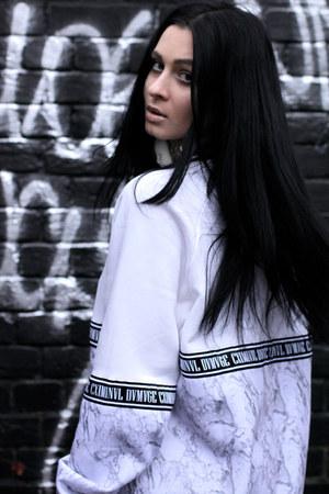 black Vans shoes - white Criminal Damage sweatshirt