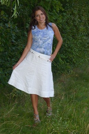 silver Bianco wedges - white H&M skirt - DKNY blouse