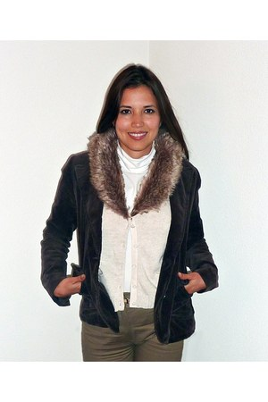 dark brown H&M jacket - light brown Mango pants - cream Zara vest