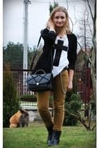 black vintage bag Grandmas bag - white wildfox cross DIY t-shirt - mustard musta