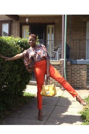 orange straight leg H and M pants - mustard hobo Bag bag