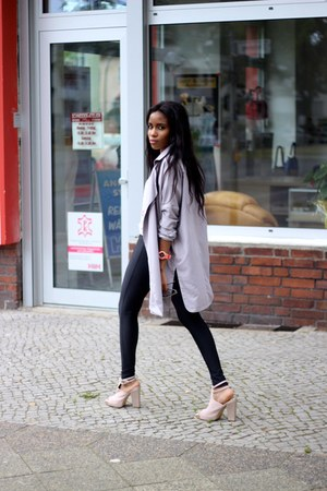 coat - leggings - shirt - heels
