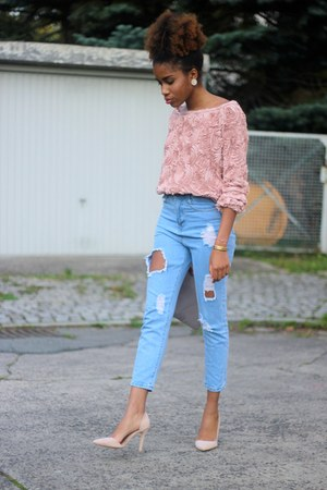 asos sweater - Sheinside jeans - Missguided heels
