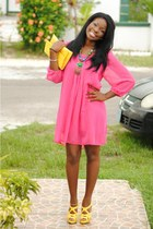 yellow shoes - hot pink chiffon dress - yellow purse - teal necklace