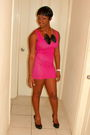 Pink-wet-seal-dress-black-wet-seal-shoes-black-h-m-accessories