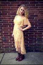dark brown Rocket Dog boots - light orange Forever 21 dress