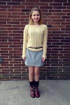 tan Forever 21 sweater - dark brown Rocket Dog boots - heather gray dress