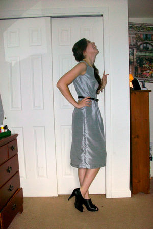 silver handmade by me dress - black Old Navy shoes - black thrifted belt - beige