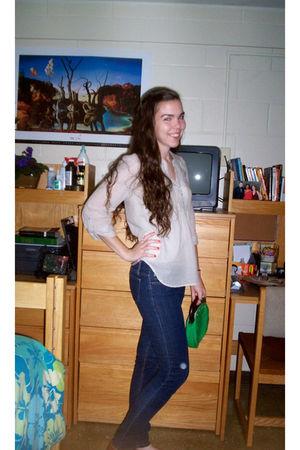 beige H&M blouse - blue Forever 21 jeans - green vintage purse - brown Target sh