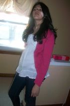 white Jcpenny top - pink abercrombie and fitch cardigan - blue Virgross jeans -