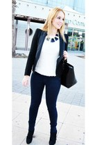 black Massimo Dutti blazer - white Lefties sweater - black Zara bag