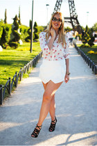 white Zara shorts - white tideshe blouse - black H&M wedges