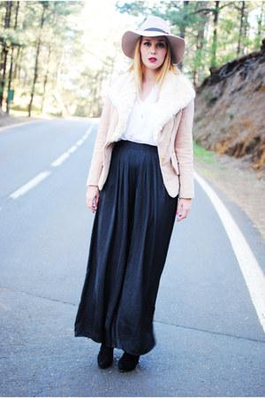 black Zara pants - eggshell Sheinside jacket - white Zara blouse